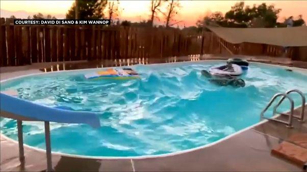 شاهد: أمواج متلاطمة في بركة سباحة لحظة ضرب زلزال كاليفورنيا