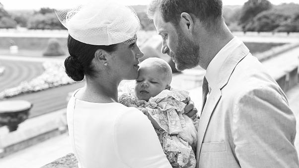 Prince Harry, Duke of Sussex and Meghan, Duchess of Sussex with their son, Archie Harrison Mountbatten-Windsor at Windsor Castle on July 6, 2019.