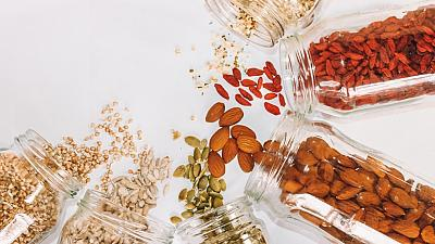 Grains and nuts in glass jars