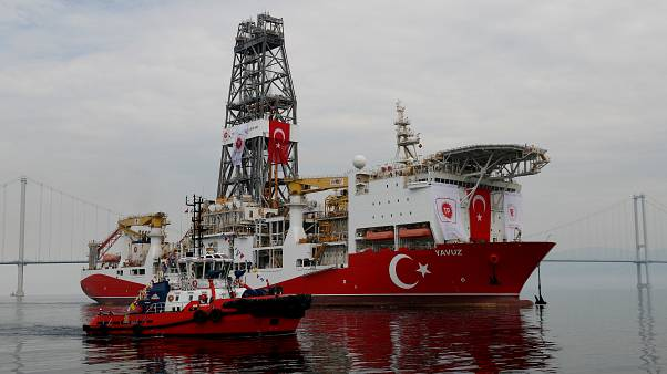 FILE PHOTO: Turkish drilling vessel Yavuz sets sail in Izmit Bay, on its way to the Mediterranean Sea, off the port of Dilovasi, Turkey, June 20, 2019.