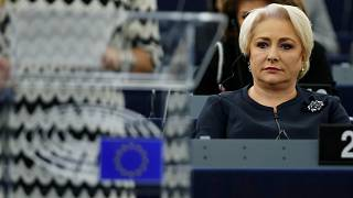 FILE PHOTO: Romanian Prime Minister Viorica Dancila attends a debate on the rule of law in Romania at the European Parliament in Strasbourg, France, October 3, 2018