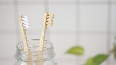 Bamboo Toothbrushes in a Jar