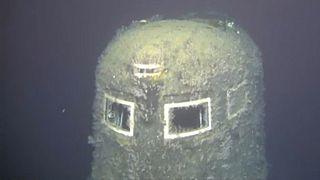 A Komszomolec tengeralattjáró maradványai 1658 m-es mélységben