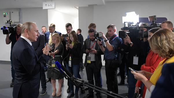 Russia's President Vladimir Putin makes comments on the country's bilateral relations with Georgia as he attends the Global Manufacturing and Industrialisation Summit (GMIS)