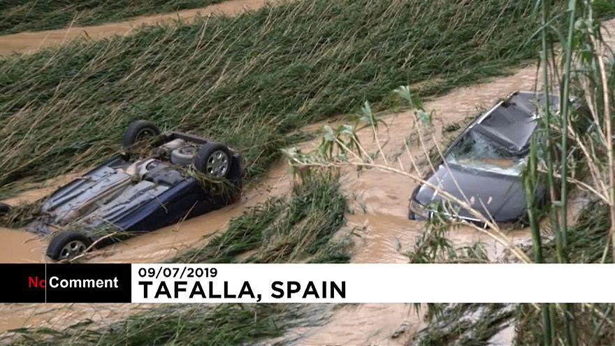 ویدئو؛ طغیان رودخانه در اسپانیا