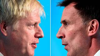 A combination pictures shows Boris Johnson and Jeremy Hunt, leadership candidates for Britain's Conservative Party, attending a hustings event in Cardiff, Wales, Britain, July