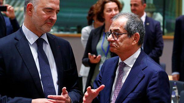 Il Commissario europeo Pierre Moscovici con Giovanni Tria, ministro dell'Economia italiano. (Bruxelles, 8.7.2019)