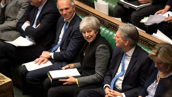 Britain's Prime Minister Theresa May in parliament on July 3, 2019.