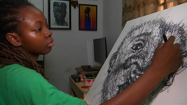 Nigerian artist transforms scribbles into creative artwork