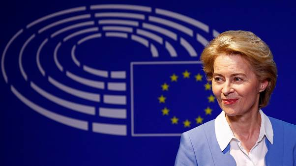 German Defense Minister Ursula von der Leyen, who has been nominated as European Commission President, briefs the media.