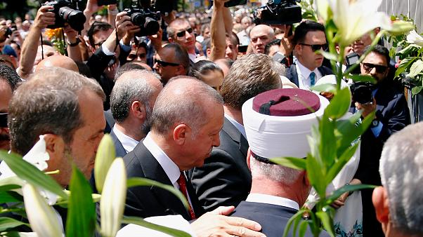 Turkish President Recep Tayyip Erdogan attends commemorations for the 24th anniversary of the Srebrenica massacre