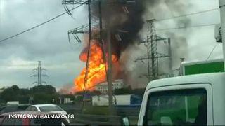 Hatalmas tűz egy Moszkva melletti hőerőműben