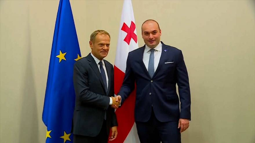 Il Presidente del Consiglio europeo Donald Tusk e il primo ministro georgiano Mamuka Bakhtadze.