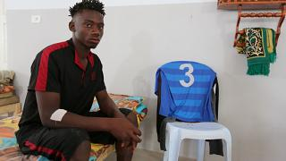 An African migrant who, a government source and the Tunisian Red Crescent said, was rescued off the coast of Tunisia, in Zarzis on July 4, 2019.