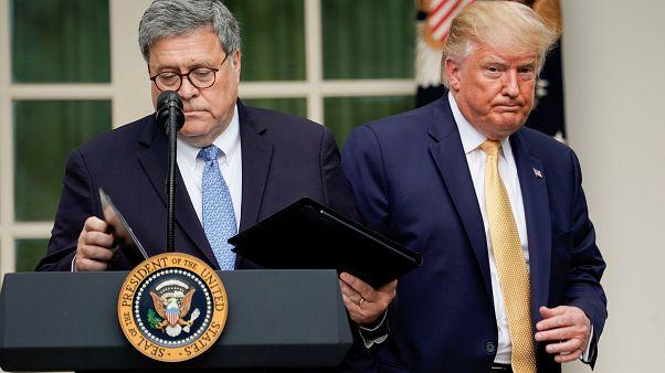 US-Justizminister William Barr und US-Präsident Donald Trump im Rosengarten des Weißen Hauses