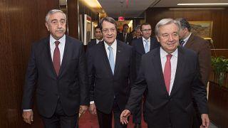 Secretary General Antonio Guterres meeting with Greek Community leader H. E. Nicos Anastasiades and Turkish Community leader H.E. Mustafa Akinci.