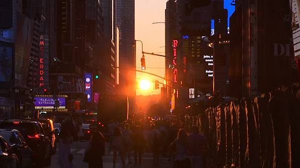 'Manhattanhenge': Streets align as New York basks in glow of spectacular sunset