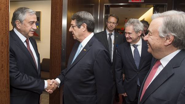 Secretary General Antonio Guterres meeting with Greek Community leader H. E. Nicos Anastasiades and Turkish Community leader H.E. Mustafa Akinci.