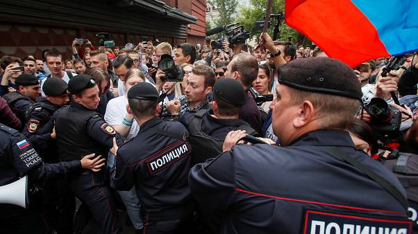 Более 25 человек задержаны при разгоне акции протеста у Мосгоризбиркома
