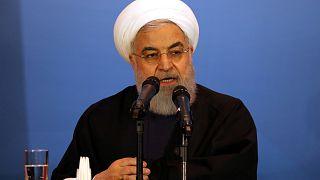 الرئيس الإيراني حسن روحاني خلال مؤتمر صحفي في العراق في آذار/مارس الفائت (أرشيف)