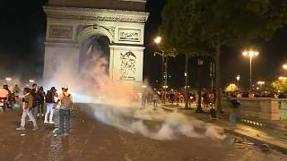 Football fans in Paris after Algeria's win in the Africa Cup of Nations semi-final