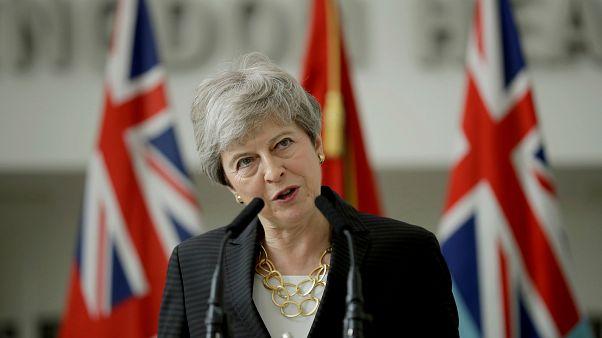 رئيسة وزراء بريطانيا تيريزا ماي في لندن يوم 8 يوليو تموز 2019.