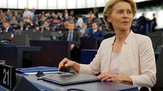 Урсула фон дер Ляйен (Германия) выступает в Европарламенте в Страсбурге 16.07.2019