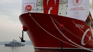 Turkish Navy frigate TCG Fatih (F-242) is seen next to Turkish drilling vessel Yavuz at Dilovasi port in the western city of Kocaeli, Turkey, June 20, 2019.