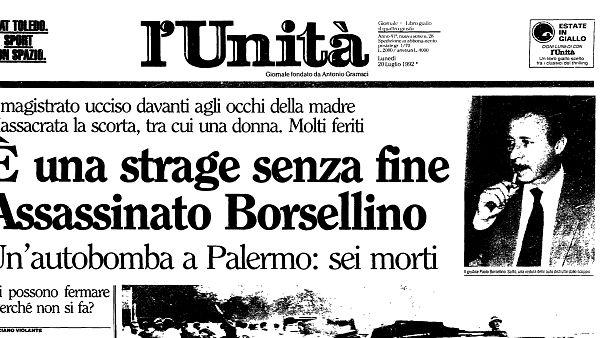 Prima pagina Unità - 20 luglio 1992
