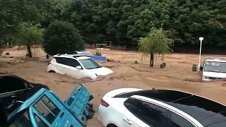 Chine : Jinhua sous les eaux après de fortes pluies