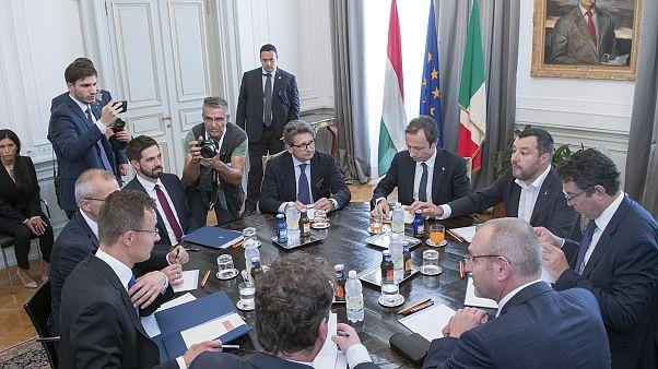 Matteo Salvini olasz belügyminiszter és a magyar külgazdasági delegáció tárgyalása Triesztben 2019. július 5-én