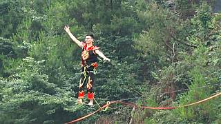 Extrem-Slacklining in China