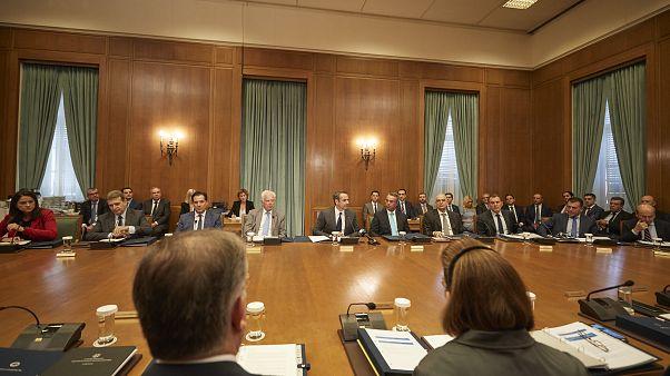 Ο πρωθυπουργός Κυριάκος Μητσοτάκης στο πρώτο υπουργικό συμβούλιο