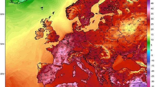 Temperaturas previstas para el miércoles