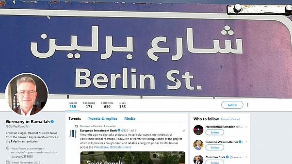 Screenshot: Twitter-Account der deutschen Vertretung in Ramallah