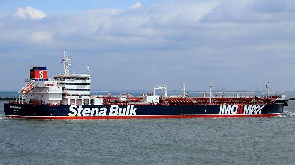 ناقلة النفط ستينا إمبيرو التي ترفع العلم البريطاني واحتجزتها إيران في ميناء بندر عباس. تموز 2019