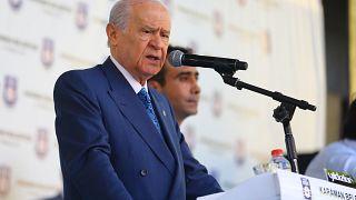 MHP Genel Başkanı Devlet Bahçeli, Karaman Belediyesi binası önünde halka hitap etti. ( Abdullah Coşkun - Anadolu Ajansı )