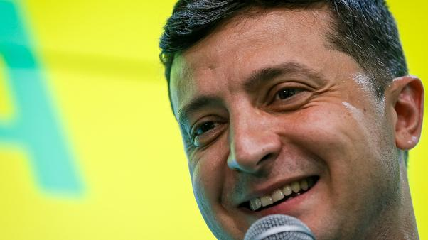 Volodymyr Zelensky speaking at his party's headquarters after the parliamentary election