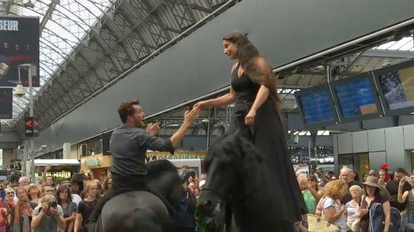 Dos caballos se buscan en la Estación del Este de París