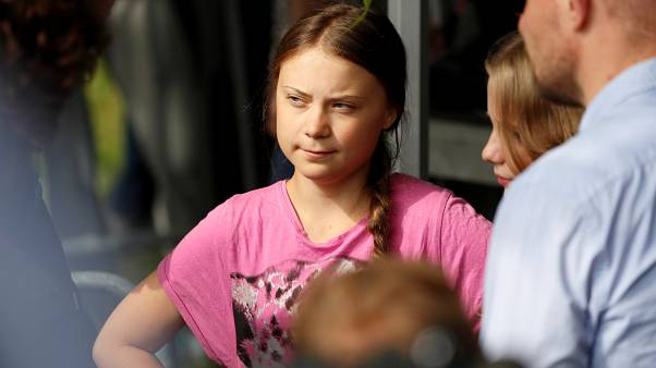 "Greta Thunberg arrives to attend a ""Fridays for Future"" protest, claiming for urgent measures to combat climate change, in Berlin, Germany, July 19"