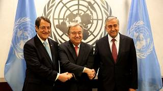 Nikos Anastasiadis, Antonio Guterres ve Mustafa Akıncı