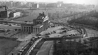 Berlin, Brandenburger Tor, Mauerbau, Luftbild
