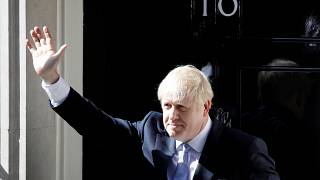 Britain's new Prime Minister, Boris Johnson, enters Downing Street, in London, Britain July 24, 2019.