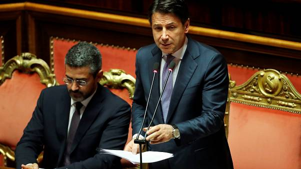 Italian Prime Minister Giuseppe Conte addresses the Parliament on allegations that the ruling coalition League party has sought illegal funding from Russia,