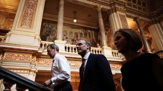 دومنیک راب لحظاتی پس از انتخاب شدن به سمت وزیر خارجه بریتانیا