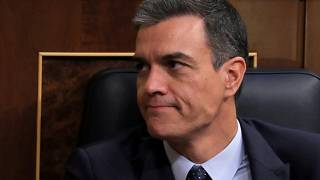 Spain's acting Prime Minister Pedro Sanchez reacts during the second day of the investiture debate at the Parliament in Madrid, Spain, July 23, 2019