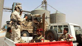 تعدادی از نیروهای نظامی ائتلاف عربی عمل کننده در بندر حدیده یمن