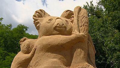 The exhibition features sculptures of endangered Australian koala bears