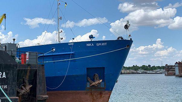 """Petroleiro russo """"Nika Spirit"""" apreendido no porto de Izmail, Ucrânia"""