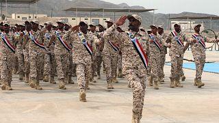 رژه نظامیان تجزیهطلب یمنی در عدن؛ این نیروها به تازگی از سوی امارات به خدمت گرفته شدهاند.